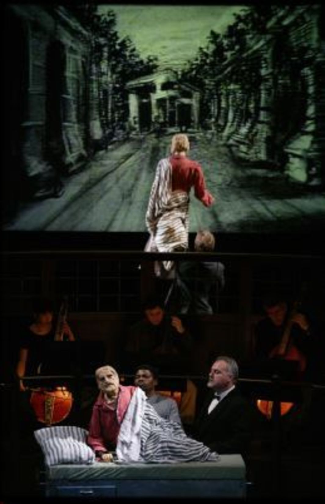 William Kentridge, Il Ritorno d'Ulisse, 1998. Performance view, John Jay College Theater, New York, 2004. Fourie Nyamade (puppeteer) and Furio Zanasi (vocalist). Photo: Johan Jacobs-LaMonnaie.
