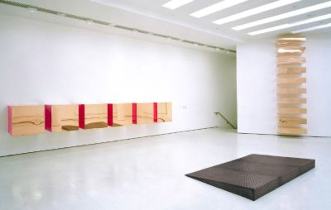 "View of ""Singular Forms (Sometimes Repeated): Art from 1951 to the Present,"" Solomon R. Guggenheim Museum, New York, 2004. From left: Donald Judd, Untitled, 1993; Donald Judd, Untitled, 1969; Donald Judd, Untitled, 1968. Photo: David Heald.All works of art by Donald Judd © Judd Foundation. Licensed by vaga, New York, NY."