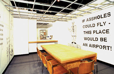 Mike Kelley, Proposal for the Decoration of an Island of Conference Rooms (with Copy Room) for an Advertising Agency Designed by Frank Gehry, 1991. Installation view, Museum of Contemporary Art, Los Angeles, 1992.