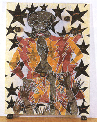 "Chris Ofili, The Adoration of Captain Shit (2nd Version), 1998, mixed media, 96 x 72""."