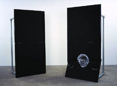 "Banks Violette, blackhole (twin channel), 2004, wood, steel, aluminum, tinted epoxy, acrylic polymer, salt, handcast pewter, and hardware, 2 elements, each 72 x 36 x 34""."