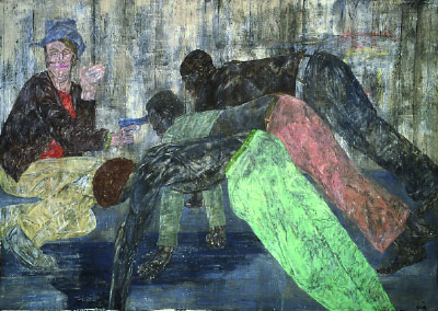 "Leon Golub, Mercenaries V, 1984, acrylic on linen, 10' x 14' 4""."