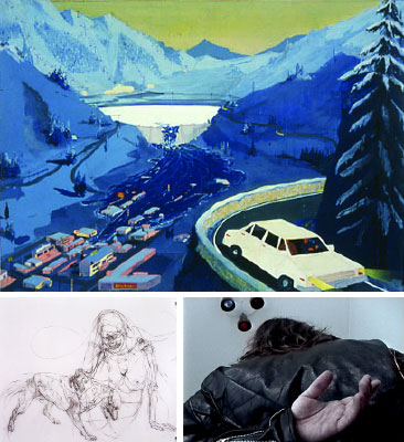 "Clockwise from top: Jules de Balincourt, Leisure Land, 2003, oil, enamel, and spray paint on board, 24 x 34"". Aïda Ruilova, Lets go, 2004, still from a color digital video, 18 second loop. Chloe Piene, Self-Portrait with Dog 02 (detail), 2001, charcoal on vellum, 36 x 52 1/2""."