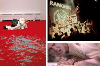 Clockwise from left: Maurizio Cattelan, La Nona Ora (The Ninth Hour), 1999. Installation view, Royal Academy of Arts, London, 1999. The Ramones performing in Ann Arbor, MI, 1978. Photo: Robert Matheu. Lynne Marguiles and Joe Orr, Andy Kaufman: I'm From Hollywood, 1992, still from a color film in 35 mm, 60 minutes. Andy Kaufman.