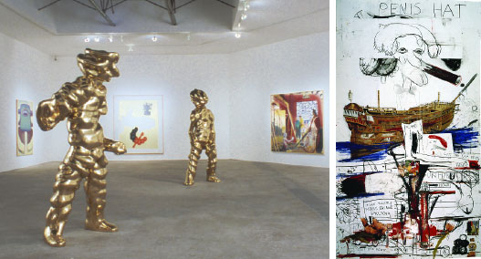"Left to right: View of the Fifth International SITE Santa Fe Biennial,""Disparities and Deformations: Our Grotesque,"" 2004. From left: Maria Lassnig, Sensenmann (The Grim Reaper), 1991. Thomas Schütte, Grosse Geister No. 1 (Big Spirits No. 1), 2004. Jörg Immendorf, Pinselgespräch (Brush Conversation), 2000. Thomas Schütte, Grosse Geister No. 2 (Big Spirits No. 2), 2004. Neo Rauch, Scheune (Barn), 2003. Photo: Herbert Lotz. Right: Paul McCarthy, Penis Hat, 2001, charcoal, graphite, oil pastels, and mixed media on paper, 13' 11 1/4"" x 8' 4""."