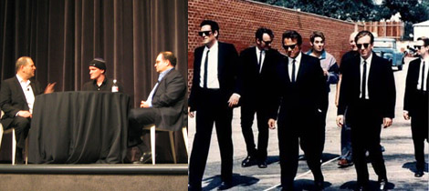 Left: Harvey Weinstein, Quentin Tarantino, and Bob Weinstein at MoMA. Right: Still from Reservoir Dogs.