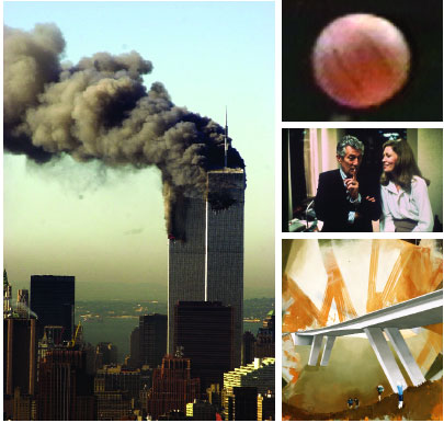"Clockwise from top left: World Trade Center burning after terrorist attack, New York, September 11, 2001. Photo: AP Photo/Patrick Sison. Paul Pfeiffer, John 3:16, 2000, still from a color video, approx. 2 minutes 7 seconds. Sidney Lumet, Network, 1976, still from a color film in 35mm, 121 minutes. Howard Beale (Peter Finch) and Diana Christensen (Faye Dunaway). Thomas Eggerer, The Wisdom of Concrete, 2004, acrylic on canvas, 90 x 79""."
