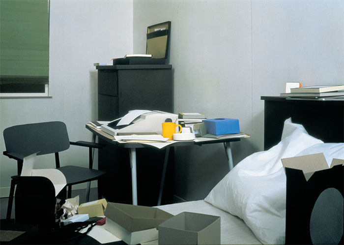 "Thomas Demand, Zimmer (Room), 1996, color photograph, 67 3/4 x 91 5/16""."