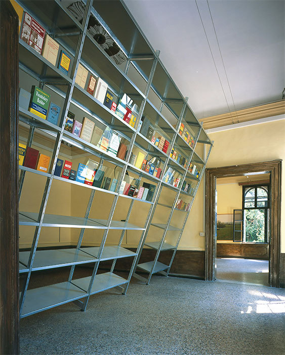 Richard Wentworth, Mirror, Mirror, 2003, books and steel shelving with glass, dimensions variable.