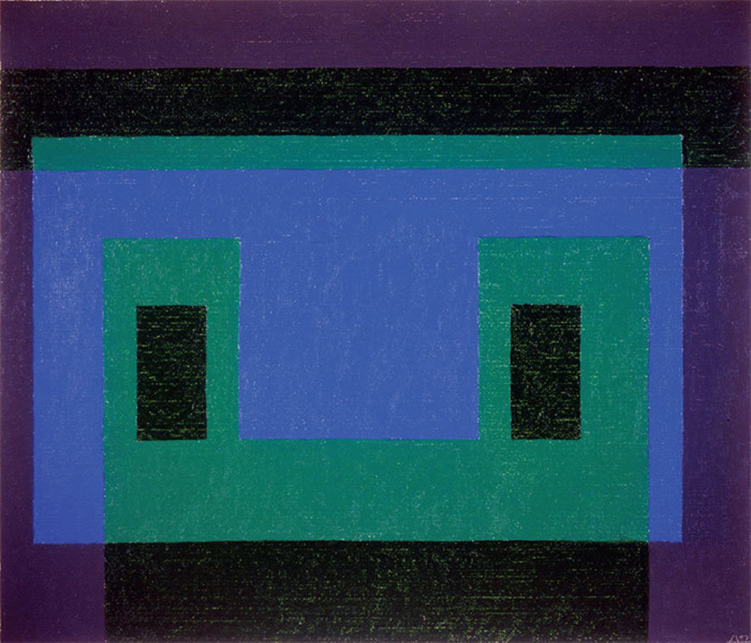 "Josef Albers, Blue Front (variant), 1959, oil on masonite, 23 1/2 x 27""."