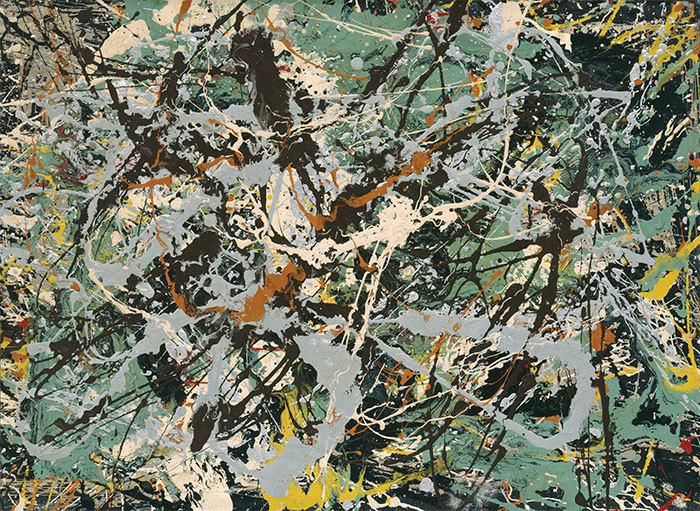 "Jackson Pollock, Untitled (Green Silver), 1949, enamel and aluminum paint on paper mounted on canvas, 22 3/4 x 30 3/4""."