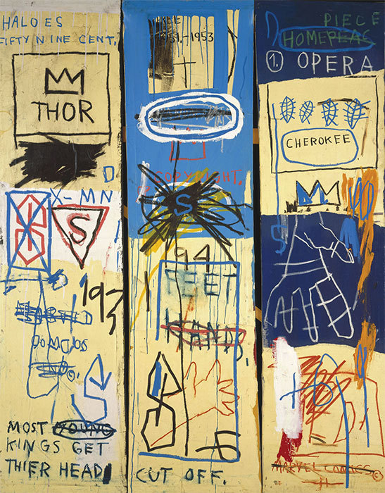 "Jean-Michel Basquiat, Charles the First, 1982, acrylic and oil stick on canvas, 78 x 62 1/4"". Estate of Jean-Michel Basquiat."