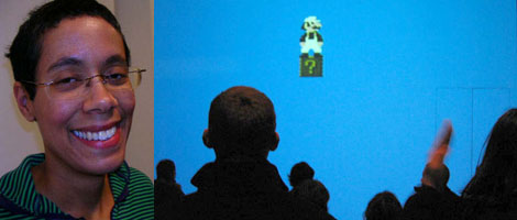 Left: Laylah Ali. Right: Cory Arcangel (Beige) and Paperrad, Super Mario Movie, 2005, installation view.
