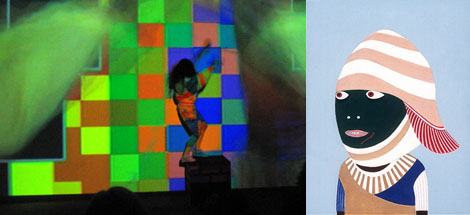 Left: Jacob Ciocci, ROTFLOL, performance view. Right: Laylah Ali, Untitled, 2004.