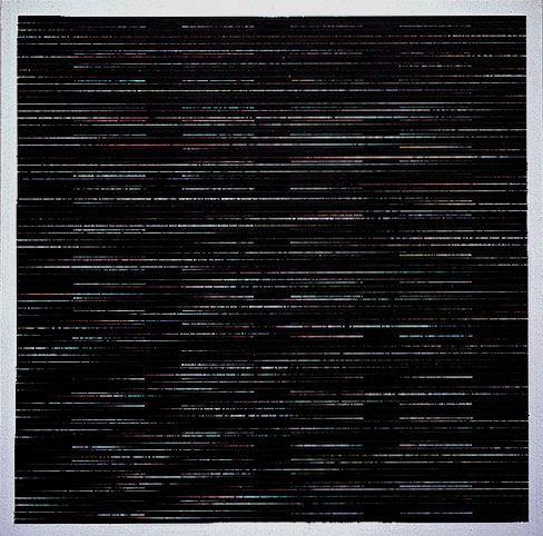 "Agnes Martin, The Sea, 2003, acrylic and graphite on canvas, 60 x 60""."