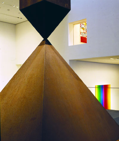 View of the Donald B. and Catherine C. Marron Atrium, Museum of Modern Art, New York, 2004.  Foreground: Barnett Newman, Broken Obelisk, 1963–69. © Barnett Newman Foundation/Artists Rights Society (ARS), New York. Photo: Louise Lawler.