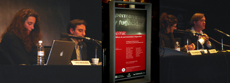 Left: Tania Bruguera and Pablo Helguera. Middle: SITAC advertisement. Right: Robert Storr holds forth.