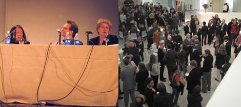 Left: Eungie Joo, Daniel Birnbaum, and Martha Rosler. Right: The cocktail party after the panel discussion.