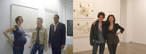 Left: Jessica Rankin, Matthew Ritchie, and Christian Haye. Right: Julie Mehretu and Jenny Liu.