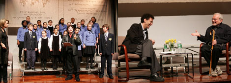 Left: Left: Members of the Young People's Chorus of New York City (YPC) performing with Harrison Chad (center) as Brundibar. Right: Tony Kushner and Maurice Sendak. (All photos: The Jewish Museum/John Aquino)