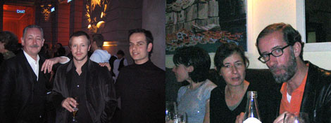 Left: Cerith Wyn Evans, Bojan Sarcevic, and Tino Sehgal. Right: Dominique Gonzalez-Foerster and Carsten Höller.