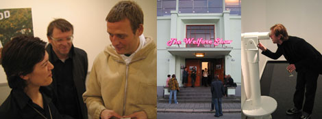Left: Uta Meta Bauer, Waling Boers, and Michael Elmgreen. Middle: The Bergen Kunsthall's facade. Right: Eivind Furnesvik with an artwork by Elmgreen and Dragset.
