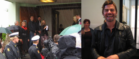 Left: Bergen Kunsthall director Solveig Øvstebø speaks to the assembled crowd and the Crown Prince and Princess of Norway (at right hand edge of frame). Right: Ingar Dragset.