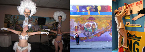Left: The Fabulous Pontani Sisters. Middle: A detail of Os Gemeos's mural. Right: Artist Steve Powers hanging signs in the Dreamland Artist Clubhouse. (Photo: Shane Brennan)