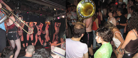 Left and right: The Extra Action Marching Band performing at Galapagos. (Photos: Annie Sundberg)