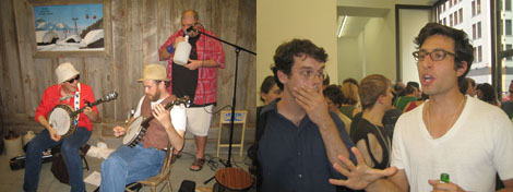 Left: A jug band playing at the opening. Right: Artists Roy Stanfield and Gedi Sibony.