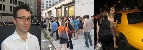 Left: Foxy Production director Michael Gillespie. Middle: The crowd spills out of the gallery. Right: The camouflaged squad car.