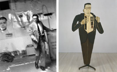 "Left to right: Walter Hopps at Andy Warhol's Factory, New York, 1964. Photo: Billy Name. Ed Kienholz, Walter Hopps Hopps Hopps, 1959, paint and resin on wood, printed color reproductions, ink on paper, vertebrae, telephone parts, candy, dental molds, metal, pencil, and leather, 87 x 42 x 21""."