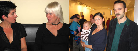 Left: Former IASPIS director Karina Ericsson Wärn and currect director Maria Lind. Right: Gallery owner Natalia Goldin and artist Allen Gubresic.
