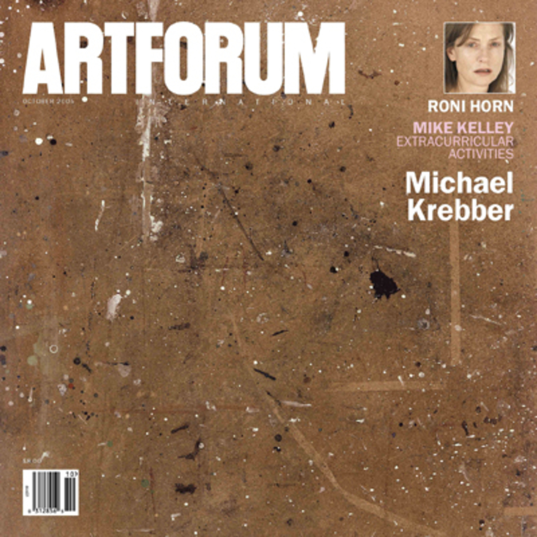 "Cover: Michael Krebber, Because of the Architect, the Building Fell Down (detail), 2000, paint on Masonite, 48 x 96 1/2"". Inset: Roni Horn, Portrait of an Image—Erika, Lena, Claire, Charlotte, Dominique, Jean, Mika, Isabelle, Marie, Emma, Beatrice, and Others (with Isabelle Huppert) (detail), 2005, 1 of 110 color photographs, 15 x 12 1/2"" each."