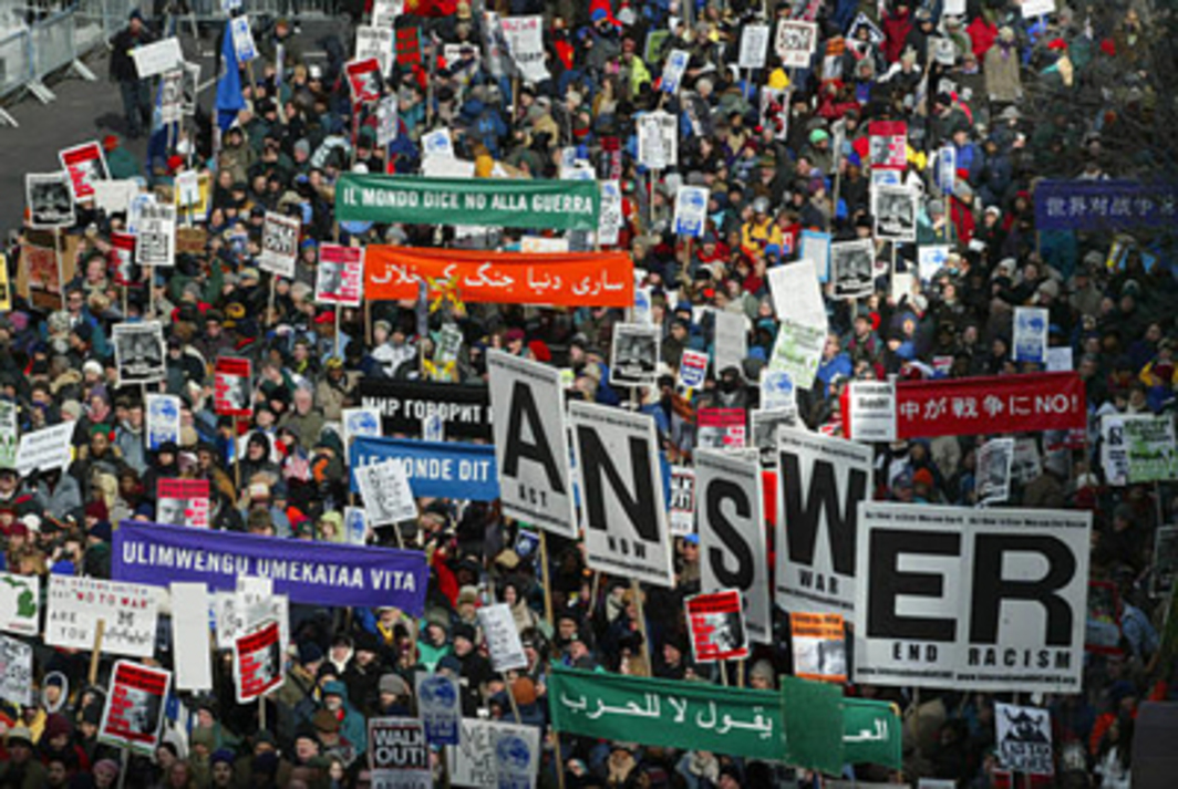 Antiwar protesters demonstrate near UN headquarters, New York, February 15, 2003. Photo: AP/Shawn Baldwin.
