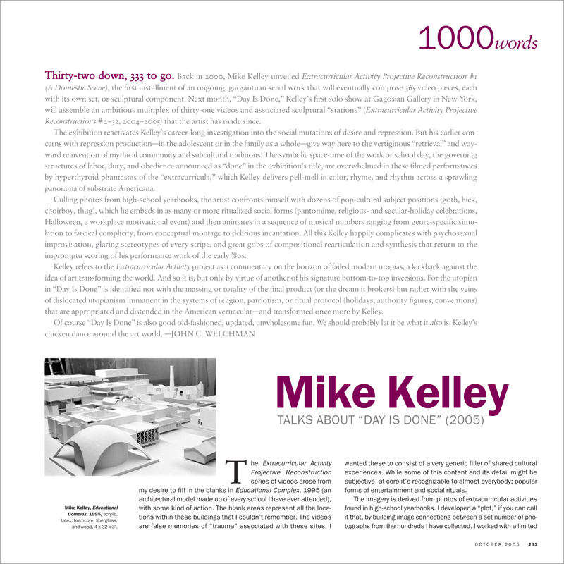 1000 WORDS: MIKE KELLEY