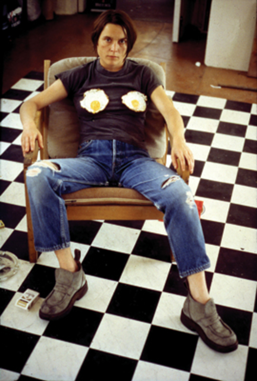 "Sarah Lucas, Self-Portrait with Fried Eggs, 1996, color inkjet print, 23 5/9 x 18 7/8""."