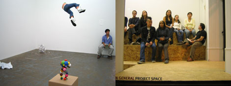 "Left: A view of Tom Friedman's exhibition at Feature. Right: A scene from artist Lee Walton's ""life theater."""