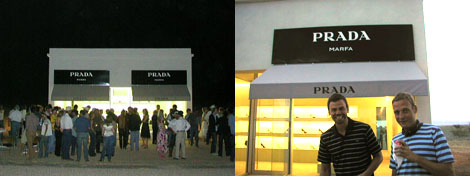 Left: Prada Marfa at night. Right: Ingar Dragset and Michael Elmgreen. (Photos: Lucas Michael)