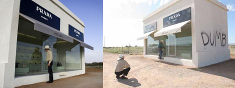 Left: A view of Prada Marfa. (Photo: L. Kapre) Right: The vandalized wall. (Photo: Alberto Halpern)