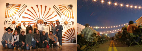 "Left: The staff of Ballroom Marfa with the artists of ""You Are Here."" Right: A view of the Chinati Foundation's outdoor dinner for 1,500. (Photos: Alberto Halpern)"