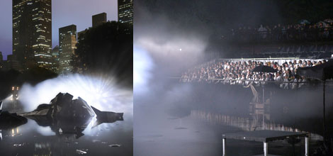 Left and right: Scenes from Pierre Huyghe's A Journey That Wasn't shoot. (Photos: Public Art Fund/Tom Powel Imaging)