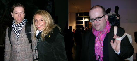 Left: Artist Ivan Civic with curator Ema Nobile Mino. Right: White Columns director Matthew Higgs.