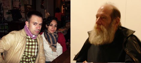 "Left: ""T1"" correspondents Raimundas Malasauskas and Sofia Hernandez Chong Cuy. Right: Artist Lawrence Weiner."
