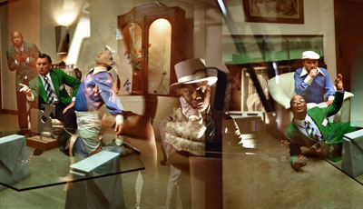 "Catherine Sullivan, The Chittendens (Misfire #4, Cinematically Distant), 2005, color photograph, 11 x 48 1/2""."