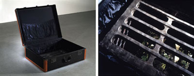 "Two views of Robert Gober, Untitled, 1997, leather, wood, forged iron, cast plastics, bronze, silk, satin, steel, beeswax, human hair, brick, fiberglass, urethane, paint, lead, motors, and water, overall: 10' 2 1/2"" x 8' 8"" x 6' 3""; aboveground: 35 1/2 x 35 1/2 x 40"". Photo: Sven Kahns."