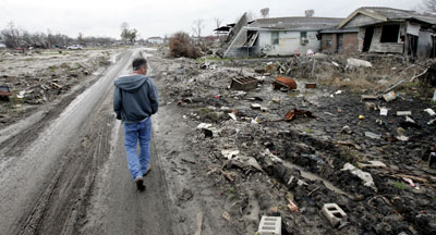 New Orleans's heavily damaged Ninth Ward, January 22, 2006. Photo: AP/Eric Gay.