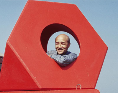 "Isamu Noguchi with his sculpture Octetra (1968), at Hakone Open-Air Museum, Kanagawa, Japan, 1969. From ""Best of Friends."""