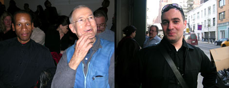 Left: Artist Sur Rodney (Sur) and husband, artist Geoffrey Hendricks. Right: Gallerist Pavel Zoubok.