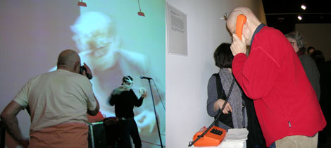 Left: Warhol photographer Nat Finkelstein records Channing Hansen performing Elegy for Fluxus Artists. Right: A telephone plays Al Hansen's old voicemails.